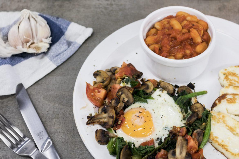 Anglická vegetariánská snídaně