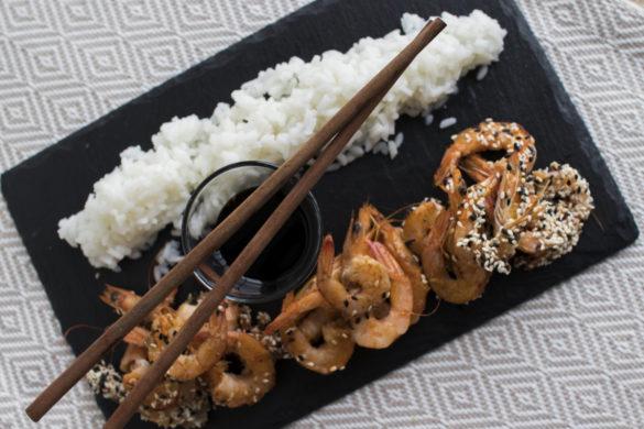 Japonská rýže s krevetami
